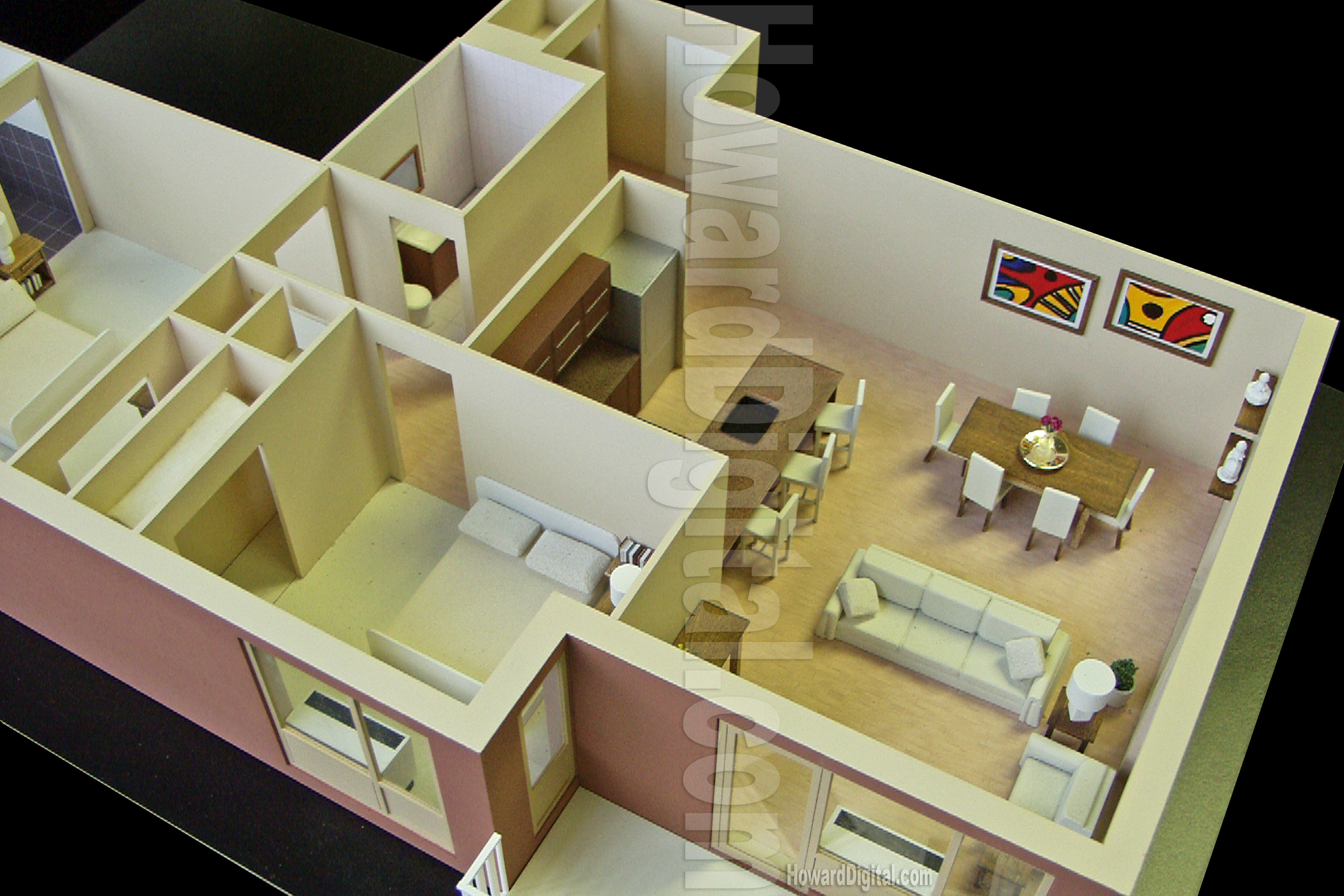 Interior model howard architectural models westwood for Decor 3d model